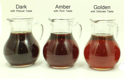 Dark, Amber, and Golden Organic Maple Syrup