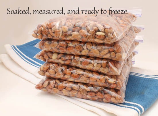 Soaked, measured, and ready to freeze.