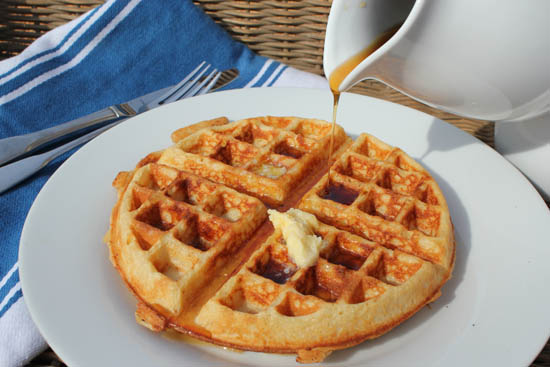 sourdough waffle with syrup
