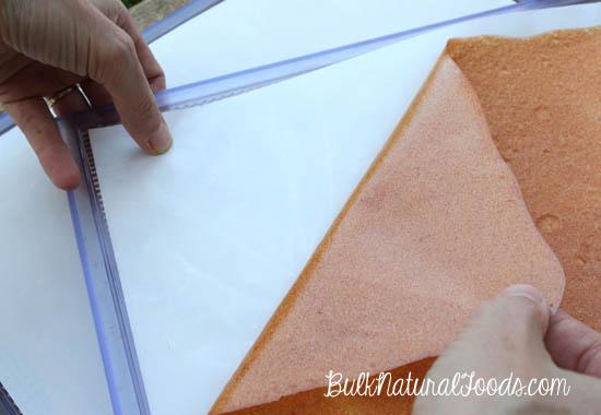 Peeling Back Finished Fruit Leather