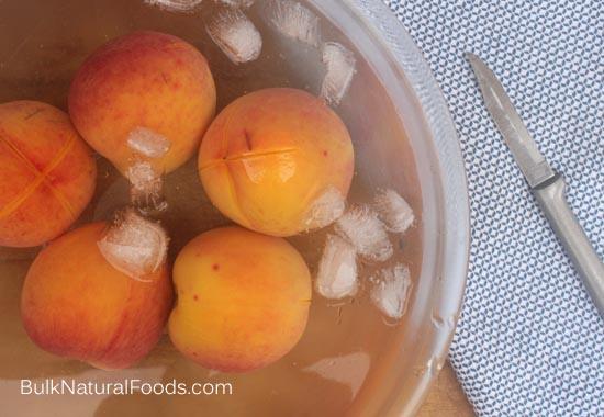 Peaches ready to peel.