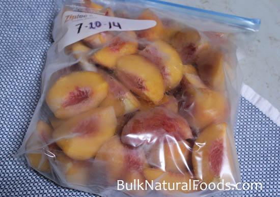 frozen peaches on tray